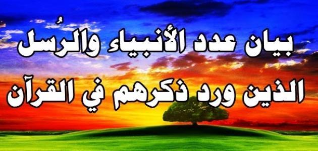 كم عدد الأنبياء الذين ذكروا في القرآن الكريم موقع مصادر