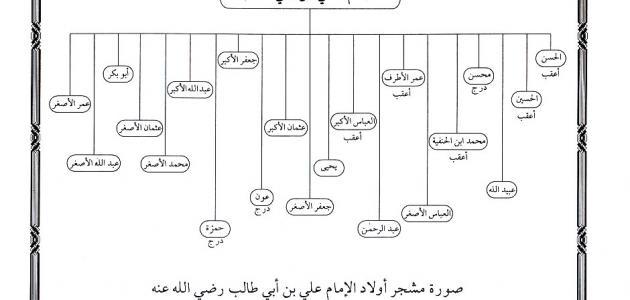 كم عدد أبناء علي بن أبي طالب