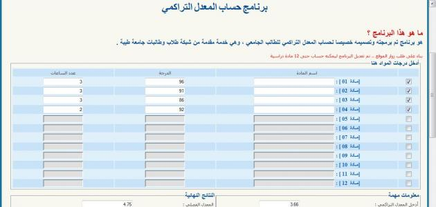 كيفية حساب المعدل التراكمي الجامعي موقع مصادر